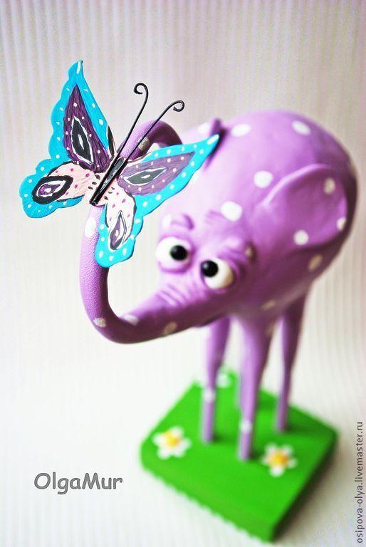 """Статуэтки ручной работы. Ярмарка Мастеров - ручная работа. Купить интерьерный """"Розовый слон"""". Handmade. Розовый, бабочка, пластиковая бабочка"""