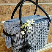 Классическая сумка ручной работы. Ярмарка Мастеров - ручная работа Сумка корзинка плетеная серого цвета с кожаными ручками. Handmade.