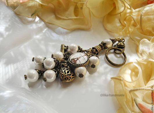 Фото Брелок для ключей, украшение на сумку Мой Париж,брелок на сумку,брелок для сумки,украшение на сумку,украшение для сумки,брелок на авто,брелок для машины,брелок на джинсы,брелок с жемчугом,Бронзов