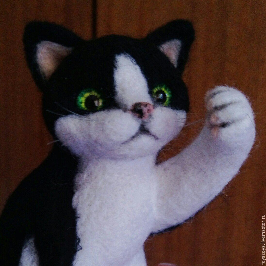 Black and white cat, felted wool, Felted Toy, Kaliningrad,  Фото №1
