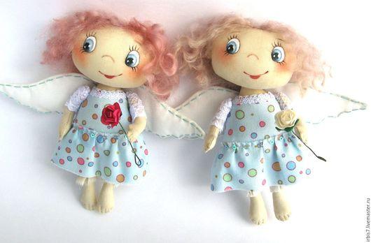 Коллекционные куклы ручной работы. Ярмарка Мастеров - ручная работа. Купить Ангелочки в голубых платьицах. Handmade. Голубой, ангел