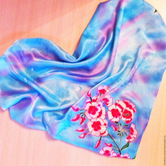 Батик платок `Нежные флоксы` 100% шёлк-атлас.ярмарка мастеров.Ручная работа.Купить подарок девушке женщине.