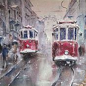 Картины и панно handmade. Livemaster - original item Painting pastel Red Tram (tram winter cityscape). Handmade.
