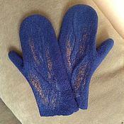 Аксессуары ручной работы. Ярмарка Мастеров - ручная работа Варежки синии джинс. Handmade.