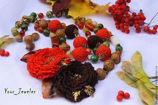 Колье, бусы ручной работы. Ярмарка Мастеров - ручная работа. Купить Осенние многорядные бусы: рябиново - мандариновое настроение. Handmade.