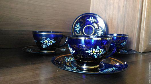 Винтажная посуда. Ярмарка Мастеров - ручная работа. Купить Чайные пары. Цветное стекло. Чехия. Handmade. Тёмно-синий