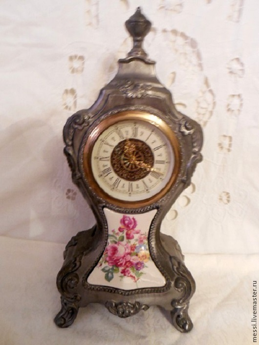 Винтажные предметы интерьера. Ярмарка Мастеров - ручная работа. Купить Часы каминные Mercedes, корпус оловянный, на реставрацию. Handmade. Серебряный