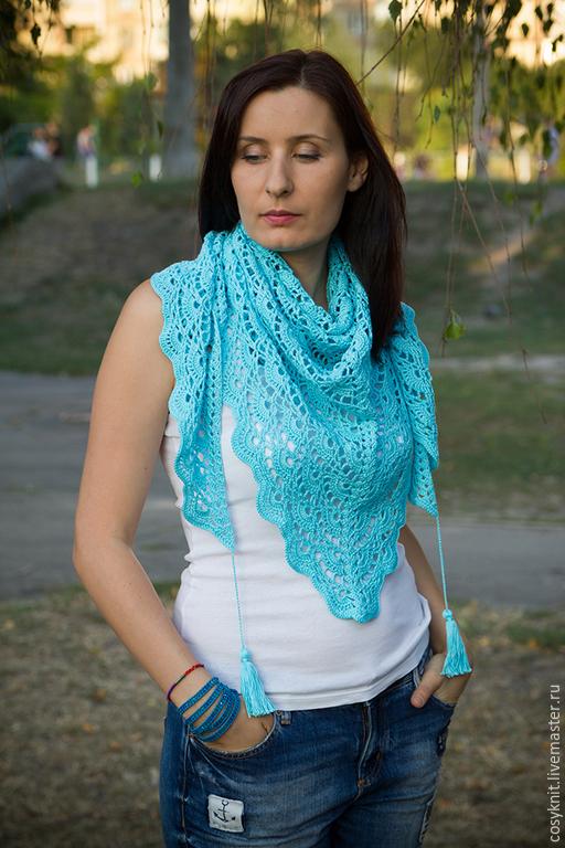"""Шарфы и шарфики ручной работы. Ярмарка Мастеров - ручная работа. Купить бактус, шаль, шарф, ажурный шарф, шейный платок  """"Бирюза"""". Handmade."""