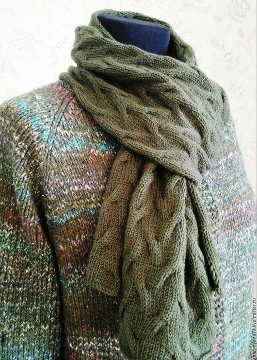 """Верхняя одежда ручной работы. Ярмарка Мастеров - ручная работа. Купить Пальто с шарфом """"Элла"""". Handmade. Оливковый, платочная вязка"""