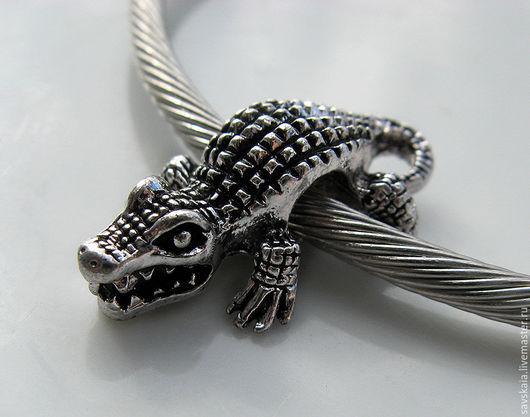Бусина-разделитель Крокодил, античное серебро
