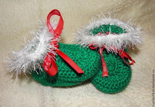 """Для новорожденных, ручной работы. Ярмарка Мастеров - ручная работа. Купить Пинетки """"Ёлочка зелёная"""". Handmade. Зеленый, пинетки вязаные"""
