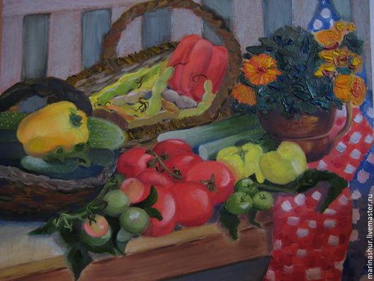 Натюрморт ручной работы. Ярмарка Мастеров - ручная работа. Купить Картина масло Урожай. Handmade. Ярко-красный, зеленый