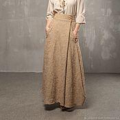 Одежда handmade. Livemaster - original item V_006 a-line Skirt long, latte color.. Handmade.