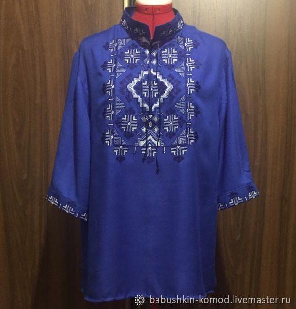 Men's embroidered shirt 'Magic bird' MP2-191, Mens outerwear, Temryuk,  Фото №1