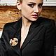 Брошь-кулон Аметист из кристаллов Swarovski, золотой, фиолетовый