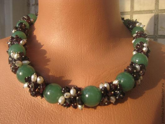 """Колье, бусы ручной работы. Ярмарка Мастеров - ручная работа. Купить Ожерелье """"Лето"""". Handmade. Нефрит, зеленый цвет"""