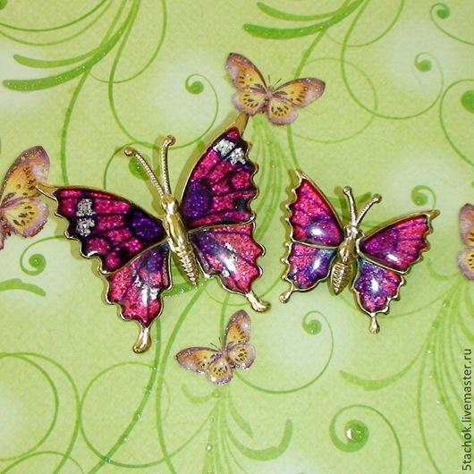 """Винтажные украшения. Ярмарка Мастеров - ручная работа. Купить Парные броши """"Лиловые бабочки"""" под золото, эмаль (Worthington США). Handmade."""