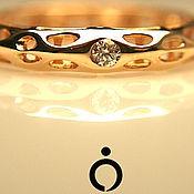 """Кольцо """"Молекула - Экосфера """" золотое с бриллиантом"""
