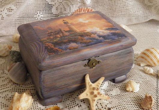 """Шкатулки ручной работы. Ярмарка Мастеров - ручная работа. Купить Шкатулка """"Старый маяк"""". Handmade. Синий, декупаж работы, маяк"""