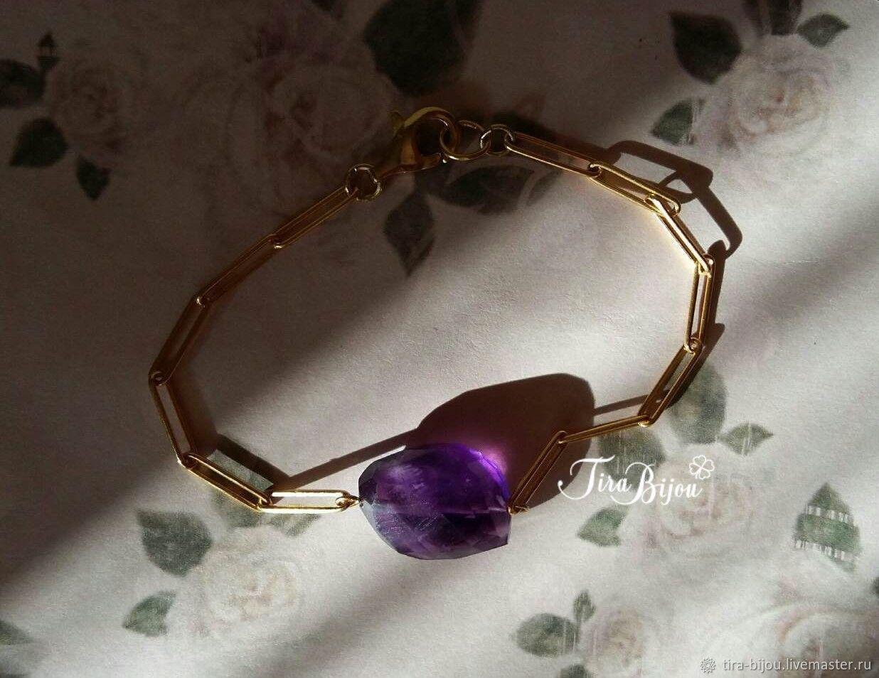 Bracelet with amethyst, 925 sterling silver, plating 14karat, Bead bracelet, Moscow,  Фото №1