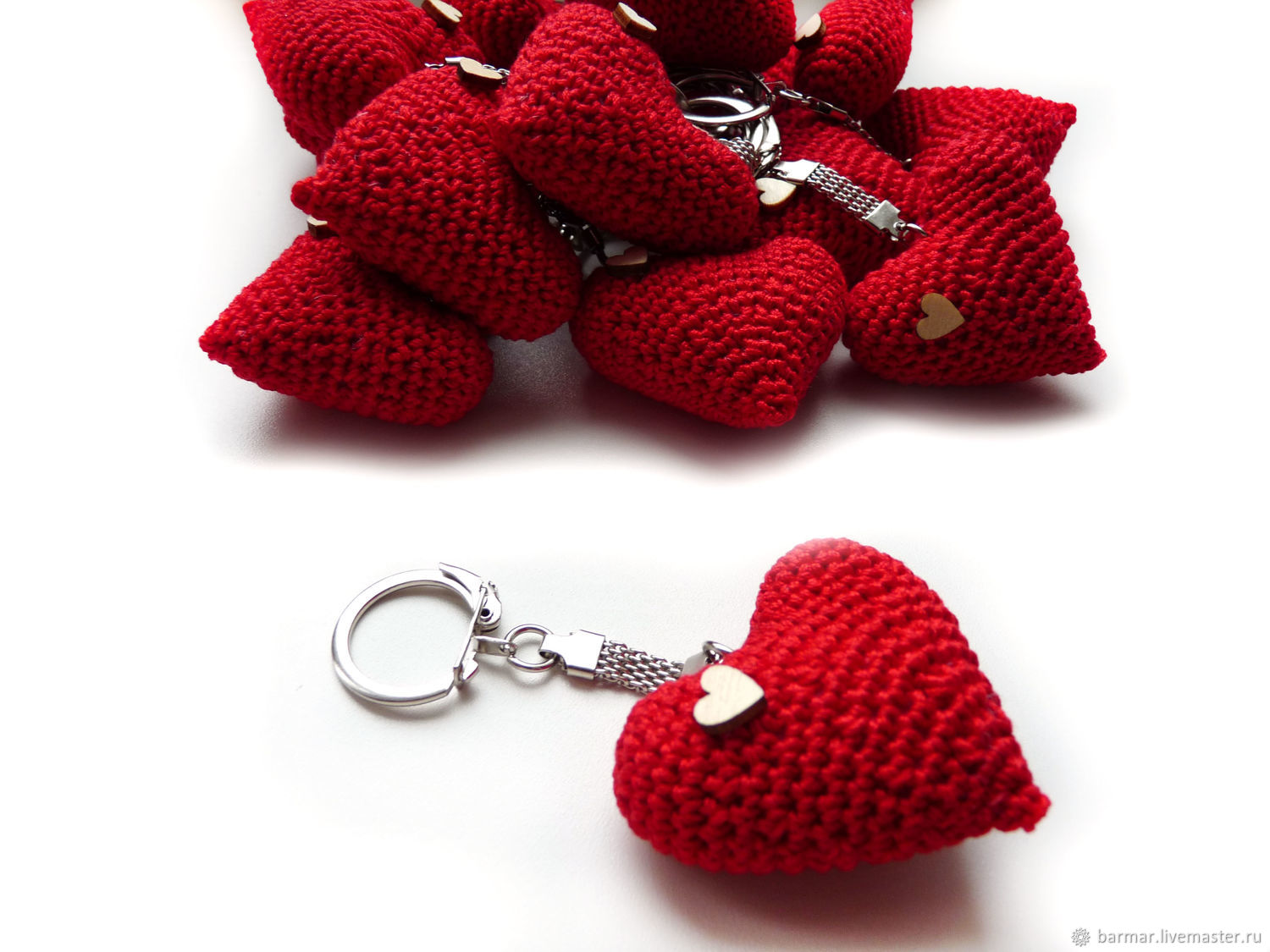 Keychain 5 cm Knitted heart red, Key chain, Moscow,  Фото №1