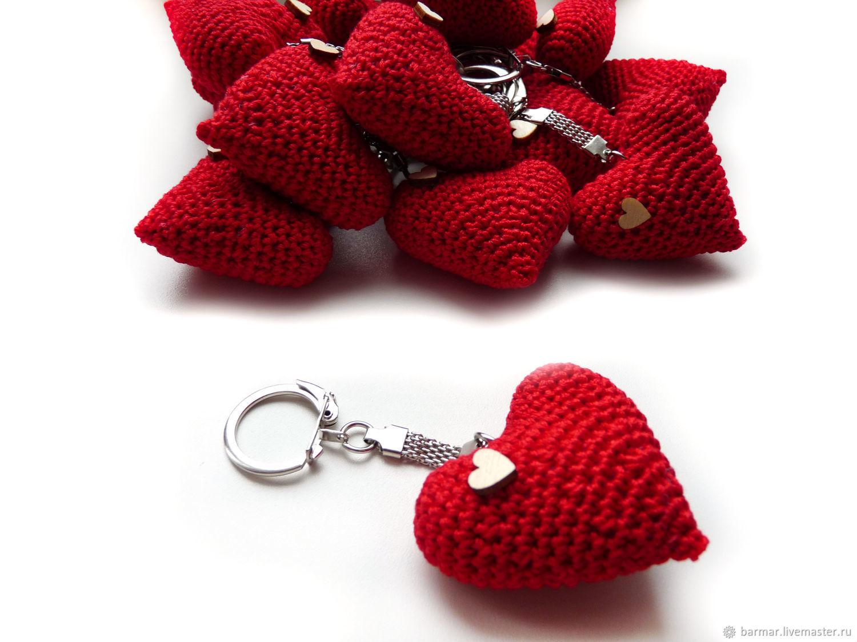 Брелок 5 см Вязаное сердце красный, Подарки, Москва,  Фото №1