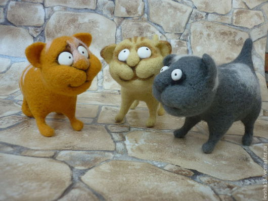 Игрушки животные, ручной работы. Ярмарка Мастеров - ручная работа. Купить Валяные коты. Handmade. Кот, валяние из шерсти