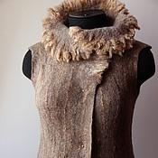 Одежда ручной работы. Ярмарка Мастеров - ручная работа Жилет валяный Кантри.Эко-мех. Handmade.