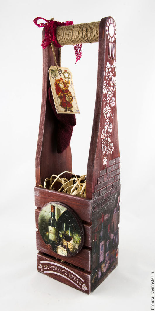 """Корзины, коробы ручной работы. Ярмарка Мастеров - ручная работа. Купить Короб под бутылку """" Salmos"""". Handmade. Бордовый"""