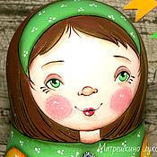 Куклы и игрушки ручной работы. Ярмарка Мастеров - ручная работа Девочки и котики. Матрешка 5-ти местная в зеленом. Handmade.