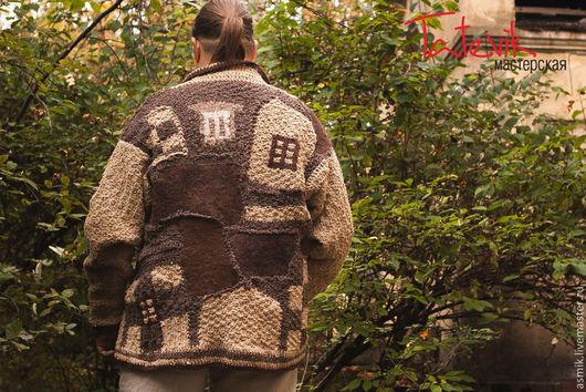 """Для мужчин, ручной работы. Ярмарка Мастеров - ручная работа. Купить Кардиган мужской """"Дом"""" по мотивам архитектуры Хундертвассера. Handmade."""