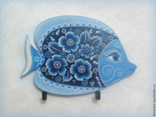 """Прихожая ручной работы. Ярмарка Мастеров - ручная работа. Купить Рыбка """"Синяя сказка"""" Интерьерное панно с крючками. Handmade."""
