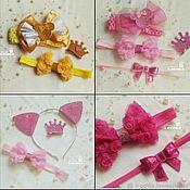 Работы для детей, ручной работы. Ярмарка Мастеров - ручная работа Аксессуары для девочки - ушки, корона, повязки с бантами. Handmade.