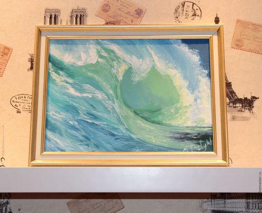 Пейзаж ручной работы. Ярмарка Мастеров - ручная работа. Купить Лазурная волна. Handmade. Бирюзовый, подарок
