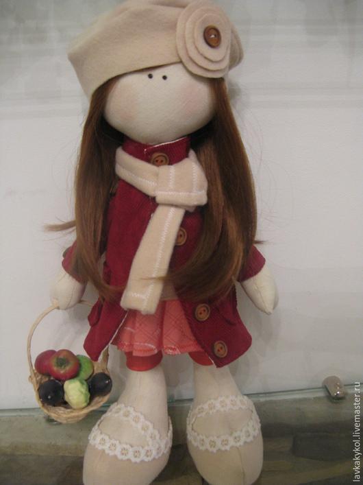 Коллекционные куклы ручной работы. Ярмарка Мастеров - ручная работа. Купить Полюшка. Handmade. Коралловый, корзинка с овощами, кружево, драп