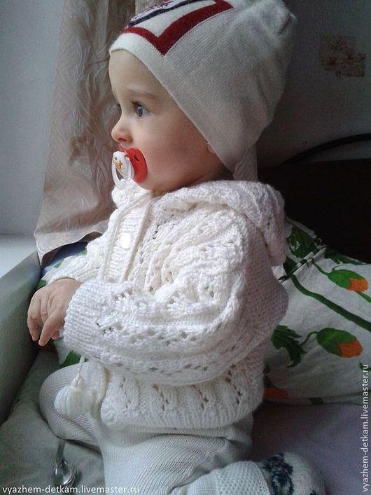 """Одежда унисекс ручной работы. Ярмарка Мастеров - ручная работа. Купить Жакетик с капюшоном """"Зимние узоры"""". Handmade. Белый, для мальчика"""