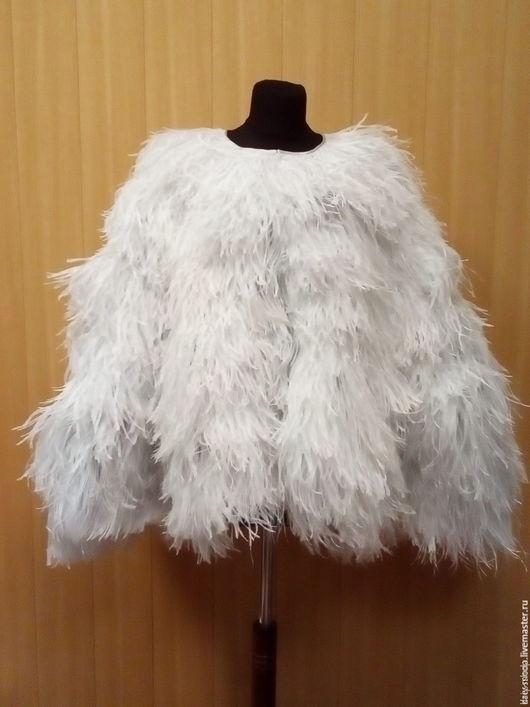 Верхняя одежда ручной работы. Ярмарка Мастеров - ручная работа. Купить Накидка-кейп из страусиных перьев. Handmade. Серебряный