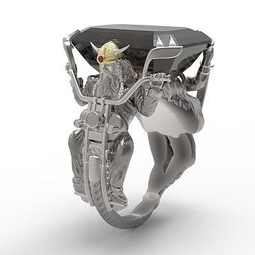 """Украшения ручной работы. Ярмарка Мастеров - ручная работа Перстень """"Викинг-Байкер"""" с раухтопазом, из серебра с платиной, золотом. Handmade."""
