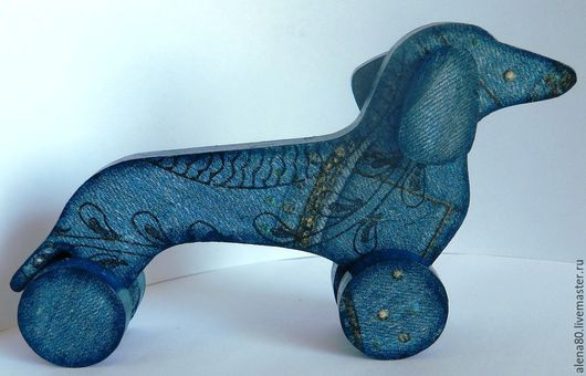 """Игрушки животные, ручной работы. Ярмарка Мастеров - ручная работа. Купить Деревянная такса """"Джинс. Handmade. Разноцветный, интерьерная игрушка"""