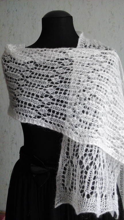 Шали, палантины ручной работы. Ярмарка Мастеров - ручная работа. Купить Белый шарф-палантин.. Handmade. Шарф, белый