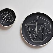 Посуда ручной работы. Ярмарка Мастеров - ручная работа набор черная тарелка и соусница с геометрическим узором. Handmade.