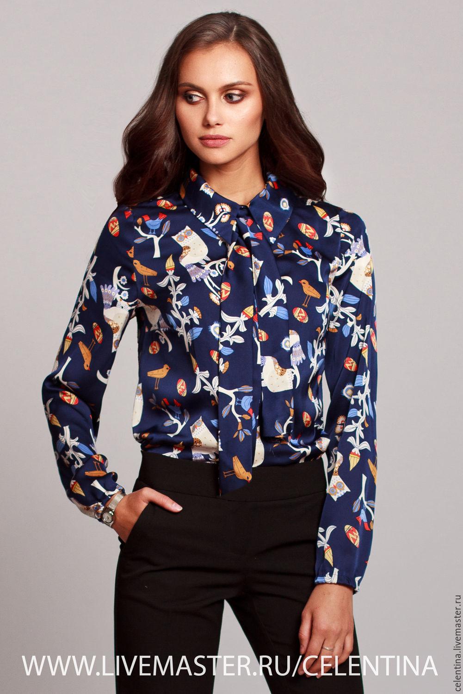 3fb0fac4da1 Блузка из шелка. Темно синяя блузка