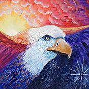 """Картины и панно ручной работы. Ярмарка Мастеров - ручная работа """"На крыльях ночи"""" Картина маслом Орел Закат. Handmade."""