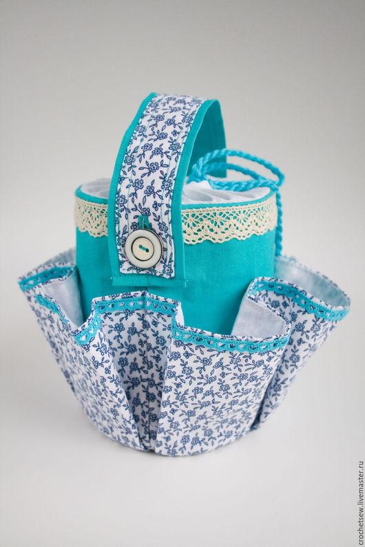 Корзинка текстильная бирюзовая с кармашками. Магазин `Вяжем.Шьём`