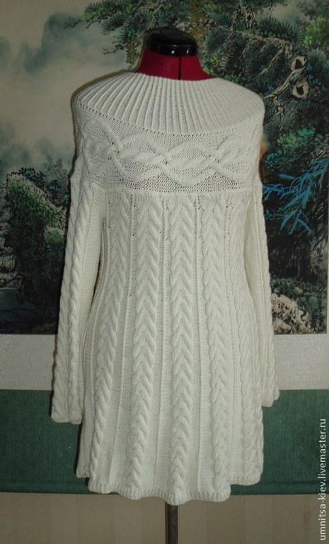 Фото. Вязаное платье с косами `Любимое`. Платье вязаное с поперечной кокеткой было связано на заказ.