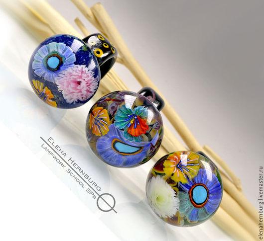 """Кольца ручной работы. Ярмарка Мастеров - ручная работа. Купить Кольца """"Букетики"""". Лэмпворк. Handmade. Синий, кольцо в подарок"""