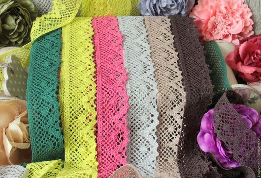 Кружево-100% хлопок цвета: №193- Зелёный №349- Желто-зеленый №194- Розовый №350- Серый №352- Мокко №351- Коричневый Ширина-40мм(+-1)