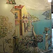 """Дизайн и реклама ручной работы. Ярмарка Мастеров - ручная работа роспись стены """"средиземноморье"""". Handmade."""