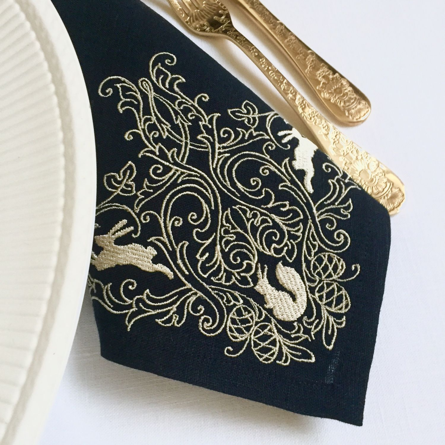 Napkin with embroidery 'Christmas tale' in dark blue, Swipe, Moscow,  Фото №1
