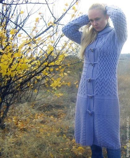 Верхняя одежда ручной работы. Ярмарка Мастеров - ручная работа серо-голубое пальто с капюшоном. Handmade.